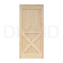 DIYHD 42 in84 in Pine Knotty Sliding Barn Wood Door Slab Two-side X Shape Barn Door Slab (Unfinished)(China)