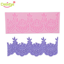 Delidge 1 pcs Flower Lace Cake Mat DIY Silicone Lace Chiffons Mould For Fondant Cake Decorating Square Silicone Lace Mold(China)