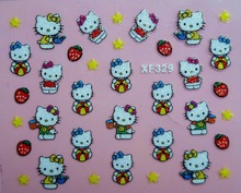 Mix Order: $0.7 XF329 Free Shipping Brand 3D Design Tip Nail Art Hello Kitty Nail Stickers Decals Carving Nail Art Decorations