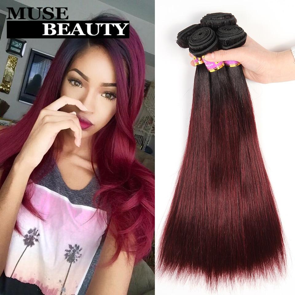 Muse Beauty 10A Ombre Burgundy Straight Malaysian Virgin Hair 4 Bundles Sale Christmas 1B 99J Red Ombre Malaysian Straight Hair<br><br>Aliexpress