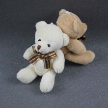 24pcs 12CM Mini Joint Teddy Bear Bouquet Packaging Material Bowtie Plush Toy Bear Beige Brown Color