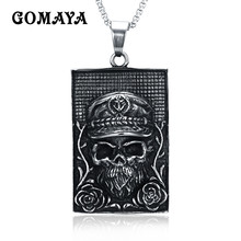 GOMAYA Fashion Stainless Steel Skeleton Skull Pendant Necklace Link Chain for Men Jewelry Collier(China)