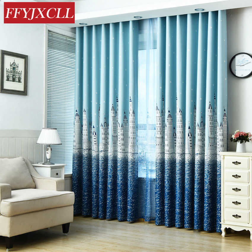 Boy Girl Bedroom Cortinas Living Room Blue Pink Coffee Blackout curtains Custom Made Drapes Children Cloth Curtains For Kids
