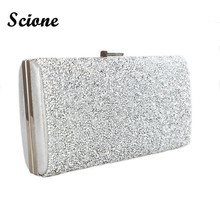2017 Gold Clutch Bags Woman Evening Bag Diamond Rhinestone Clutches Crystal Bling Wallet Wedding Party Purse Black/Gold/Silver