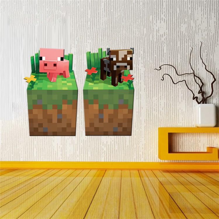 HTB1 yW b8HH8KJjy0Fbq6AqlpXaU - Removabled 3D Wallpaper Decals Minecraft Wall Stickers For Kids Rooms  Minecraft Steve Home Decor Popular Games Mural