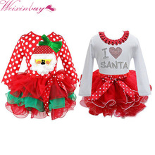 WEIXINBUY Red Christmas Girls Dress Snow Man Xmas Winter Dot Dresses Kids Clothes Cotton Children's Christmas Party Costume(China)