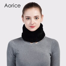 Aorice SF714 real rabbit fur scarf women's brand new 2017 genuine fur scarves rings muffler neckerchief wrap hair head band(China)