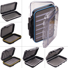 Durable Side Waterproof Fishing Tackle Box Fly Fishing Hook Storage Case Cover Foam Flies Lure Plastic Fishing Tools Accessories