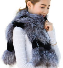 Winter Fashion Women Real Natural Silver Fox Fur Real Rex Rabbit Fur Scarf Wraps Stole Shawls Gifts FFS001