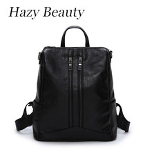 Hazy beauty New Pu leather women backpack super chic pure black stylish lady hand bags good quality girls school bag hot DH535
