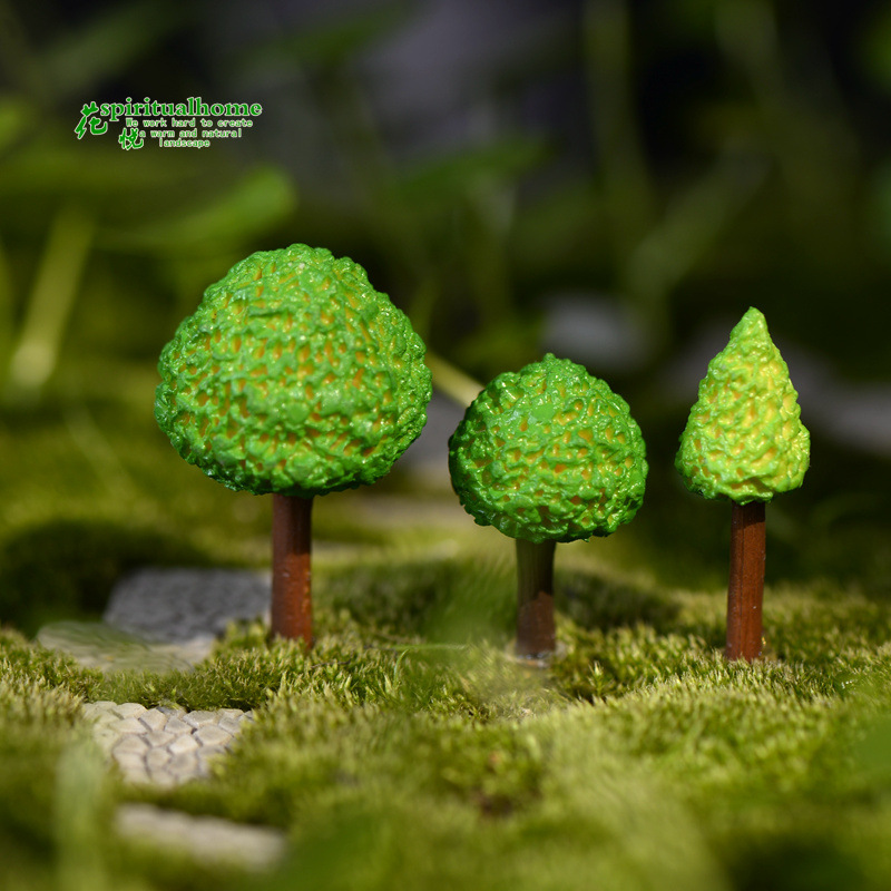 3pcs/lot simulation green treen model of micro landscape tree moss doll ornaments succulents accessories decorative materials(China (Mainland))