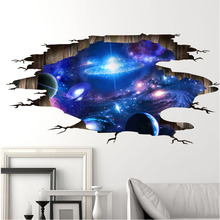 [Fundecor] 3d cosmic space galaxy children wall stickers for kids rooms nursery baby bedroom home decoration decals fooor murals