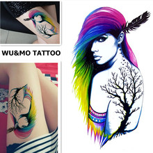 WU&MO New Colorful Hair Indian Style Cool Lady Fake Flash Sexy Body Art Waterproof Temporary Tattoo Stickers For Man Woman(China)