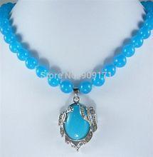 "Free Shipping >>Charming!10MM Natural Blue Chalcedony Necklace 18""AA"