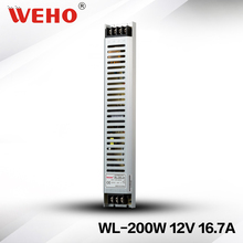 (WL-200-12)WEHO new design WL-200-12 long type led driver 200w 12v switching power supply(China)