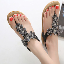 Floral decoration gladiator sandals woman rhinestone shoes narrow brand Roman style sandalia mujer cut out beach sandals 2016new