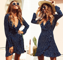 Buy Sexy Women Blue Polka Dots Beach Dress V Neck Ruffles Long Sleeve Loose Dresses Bodycon Party Boho Mini Dress Summer for $7.34 in AliExpress store