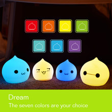 Cute LED Birthday & Christmas Toy Silicone Peach Night Light Touch Sensor light 2 Modes Children Baby Night Light Bedroom Lamp(China)