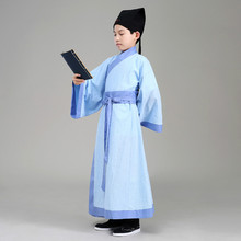 Robe+Hat Boy Traditional Costume Kids Hanfu Costume Chinese Scholar Ancient Folk Costume Child Ancient Student Clothes 89