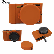 Ocotex Black/Light Brown/Green Silicone Case Rubber Camera Bag For Panasonic Lumix LX10 L-X10 Protective Body Cover(China)