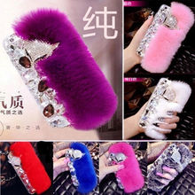 XINGDUO Authentic Soft Rabbit Hair 3D Luxury Fluffy Fur Case For iphone 5/5S/SE/6/6S/6S Plus/7/7Plus
