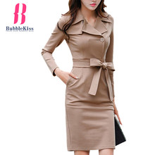 Single Breasted Belt Plain Bodycon Dress Turn Down Collar Autumn Winter Pencil Casual Dresses Elegant Formal Office Dresses(China)