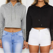 New Ladies Crop Hoodie Women Pull Over Plain Casual Short Hooded Shirt Top Lady Womens Warm Belt Sweatshirt Clothing(China)