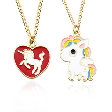 DIY Cute Unicorn Necklace Love Heart Pendant Cartoon Rainbow Horse Choker Gold Chain Childhood Necklaces&Pendants Drop Shipping(China)
