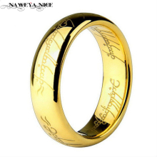 6MM Men's Finger Rings The Lord One Steel Ring Gold Women and Men Fashion Ring Wedding Wholesale Free Drop ship