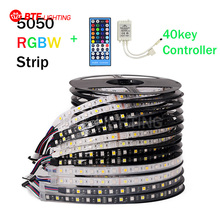 5M RGBW LED strip Light 5050 DC12V SMD 60Leds/M 300 LEDS Flexible Bar Light +40 Keys IR Dimmer Remote