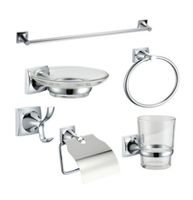 LIKAMU Stainless Steel and Zinc Alloy 6 Pieces Bathroom Accessories Towel bar Paper Holder Towel Ring Robe Hook Dishes