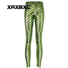 New 3001 Sexy Girl Slim Ninth Pants Apple green Mermaid Scale Dragon Printed Stretch Fitness Women Leggings Plus Size(China)