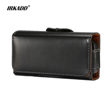 IRKADD Universal Leather Waist Bag for ZTE L660 Old Men Mobile Phone Portable Pocket for Neken EN3 Smooth Climbing Pouch(China)