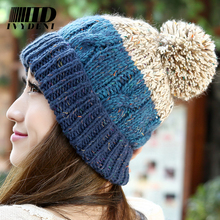 2015 Cotton Casual Winter Knitted Hats For Women Beanies Infant Crochet Hat Female Gorro Skullies Women Knitted Hat Gloves
