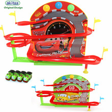 akitoo 1073 School bus racing magnetism on the wall rail car electric track light music magnetic track early education toys(China)