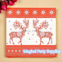 Free Ship 400pcs 100% Virgin Wood Paper Napkin for Christmas Party Decoration Red Color Deer X-mas Napkins Paper 12 Designs