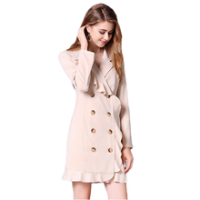 Women Elegant Ruffle Collar blazer dress Runway Double Breasted short jacket Dresses long sleeve Mini Vestidos office lady(China)
