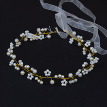 Fashion Gold Color Handmade Pearl Beads Wedding Hair Accessories Jewelry Head Piece Bride Headwear Headband Bridal Hair Band