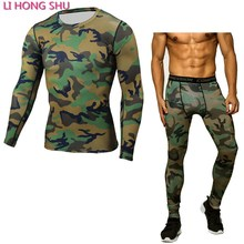 Brand Camouflage Compression Shirt Clothing Long Sleeve T Shirt + Leggings Fitness Sets Quick Dry Crossfit Fashion Suits