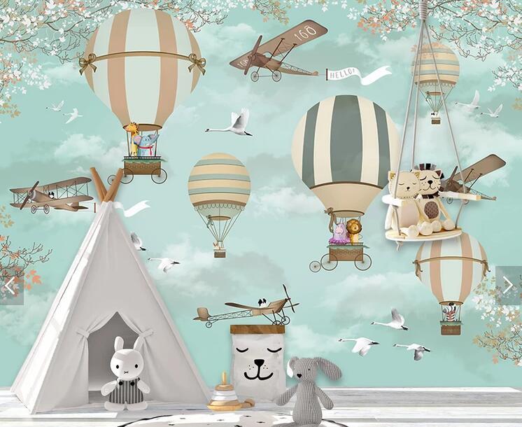 HTB1 yxWuY1YBuNjSszeq6yblFXaa - Bacaz Airplane Fire Balloon 3d Cartoon Wallpaper Murals for Kids Room