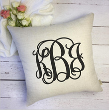 Personalized Wedding three Monogram Pillow Cover,wedding favor,party favor,EST Date,Newlywed wedding favor(China)