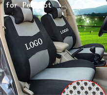 front 2 seat cover For PEUGEOT 206 207 307 308 3008 black grey red ventilate firm Embroidery logo Car Seat Cover(China)