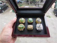 Free Shipping1961 1965 1966 1967 1996 2010 GREEN BAY PACKERS CHAMPIONSHIP RING 1 set six together high quality with wooden box(China)