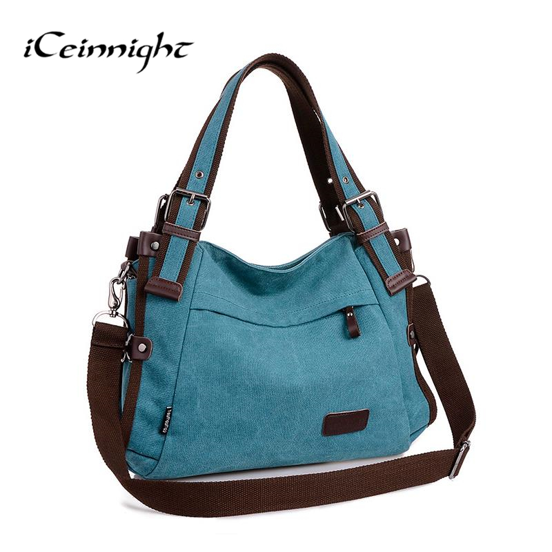 iCeinnight 2017 women canvas bag casual vintage shoulder bag fashion school bags for teenagers and teenage girls blue handbag(China (Mainland))