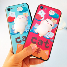LANCASE For iPhone 6 Case 3D Squishy Cat Silicone TPU Case For iPhone 6 6S Plus Squishy Doll Phone Cases Cover For iPhone 6S