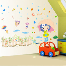 Raining Day Little Girl Walking in  Garden Wall Stickers for Kids Girls Infant Room Raindrop Maple Leaves Wall Applique Poster