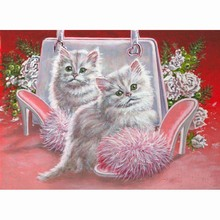 Diy Diamond Painting Diamond Mosaic pink shoes bag and cat Pictures Of Rhinestones Cross Stitch Home Decor Diamond Embroidery(China)