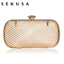 SEKUSA Sequined Hollow Out Fashion Women Evening Bags Diamonds Chain Shoulder Handbags Transparent Small Day Clutch Purse Bag(China)