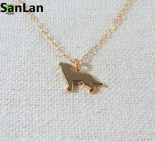 2016 Fashion Quirky Animal cute Wolf Necklace Tiny Petite Simple Jewelry Sanlan(China)