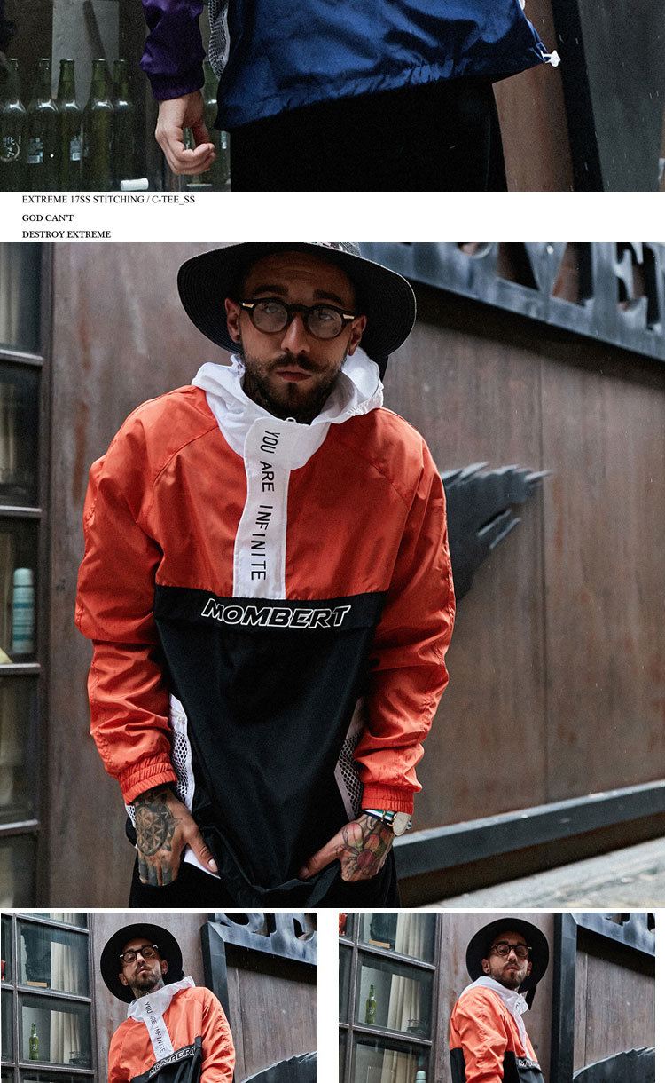 Aolamegs Jackets Men Patchwork Hit Color Couple Thin Pullover Jacket High Street Tracksuit Fashion Coats Male Streetwear Autumn (1)